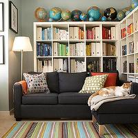 BHG - media rooms - ikea expedit, expedit bookcase, ikea expedit bookcase, white ikea bookcase, white ikea expedit bookcase, dark gray sectional, dark gray sofa with chaise lounge, ikea sectional, Ikea EXPEDIT,