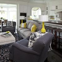 Martha O&#039;Hara Interiors - living rooms: pigeon, gray, sofa, gray, blue, linen, sofa, nailhead trim, white, gray, blue, damask, pillows, rug, yellow, lamp, pillows, natural, linen, rectangular, ottoman, blue and gray living room, gray and blue living room, blue and gray room, gray and blue room,