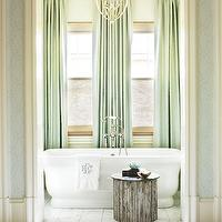 Traditional Home - bathrooms - seafoam, green, silk, drapes, bamboo, roman sahdes, freestanding, tub, marble, tiles, floor, monogrammed, towels, Zoffany Wallpaper, Currey & Co. Bella Luna Chandelier,