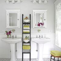 BHG - bathrooms - chair rail, beadboard, gray, walls, white, Hotel, recessed, medicine cabinets, mirrors, black, storage, ladder, green, black, towels, white, pedestal, sinks, gray and yellow bathroom, yellow and gray bathroom,