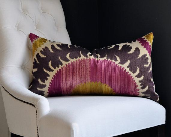 Pillows - Donghia Suzani in Pink Passion size 13x25 by woodyliana on Etsy - donghia, suzani, pillow, pink passion