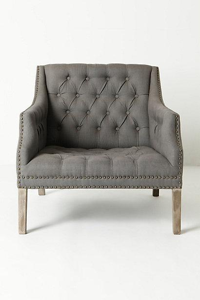 Seating - Benson Chair - Anthropologie.com - gray, tufted, chair