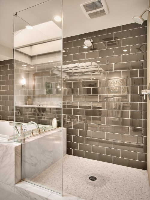 Suzie: RW Anderson Homes  Spectacular! Glossy taupe gray brown tiles shower surround, mosaic ...
