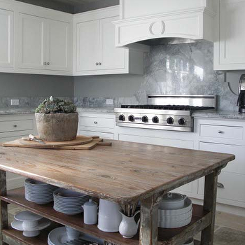 Lisa Luby Ryan - kitchens: reclaimed wood countertops, salvaged wood countertops, wood countertops, distressed wood countertops, reclaimed wood kitchen island, reclaimed wood island, reclaimed wood kitchen island, reclaimed wood center island, white cabinets, white kitchen cabinets, kitchen island with shelf,