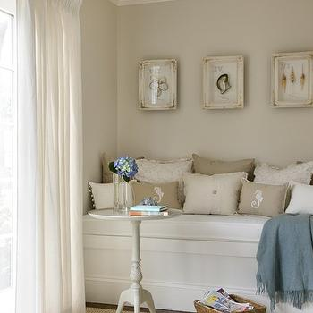 Molly Frey Design - living rooms - daybed, built in daybed, gray accent table, jute rug, reading nook, built in reading nook,  Charming reading