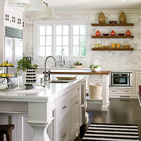 Samantha Pynn - kitchens - marble, tiles, backsplash, floating, shelves, sink in kitchen island, white, black, striped, kitchen, runner, white, baking island, butcher block countertops, white, kitchen island, white, shaker, kitchen cabinets, marble, countertops, Wolf Range,