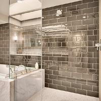 RW Anderson Homes - bathrooms - marble, tiles, shower floor, chocolate brown, taupe, glossy, tiles, shower surround, shower heads, frameless glass shower,