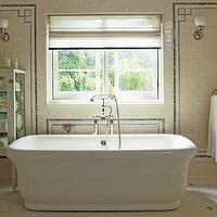 Roman and Williams - bathrooms - sparkling, white, glossy, soaking, tub, white, carrara, marble, hex, tiles, floor, ivory, bath, cabinet, etagere, ivory, subway tiles, blue, Greek key, trim, white, roman shade, blue, ribbon trim, Roman Bathtub,