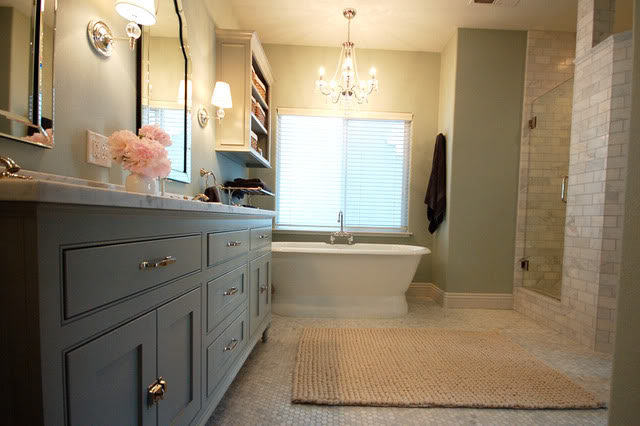 Wild Ink Press - bathrooms - Benjamin Moore - Silver Marlin - Benjamin Moore Fieldstone, West Elm pebble Rug, Allen + Roth Arch Frameless Mirror, Robert Abbey Muse - One Light Crystal Wall Sconce, Overstock Chrome 5-light Crystal Chandelier, Randolph Morris Cast Iron Double Ended Pedestal Tub, honed, carrara, marble, tiles, floor, custom, double bathroom vanity, painted, benjamin Moore, Fieldstone, marble, countertop, gray, green, walls, subway tiles, shower surround, gray bathroom, gray bathroom cabinets, gray bathroom vanity,