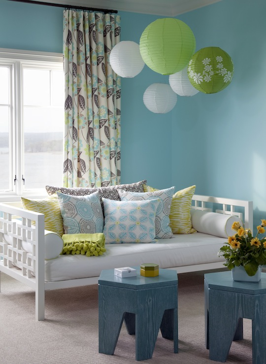 At Home in Arkansas - girl's rooms - Sherwin Williams - Spa - West Elm Overlapping Squares Daybed, spa blue paint color, white daybed, west elm daybed, turquoise stools, turquoise accent tables,