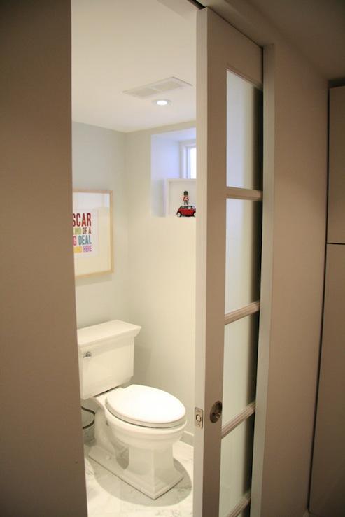 Pocket Door Bathroom Design : Frosted glass pocket door contemporary bathroom