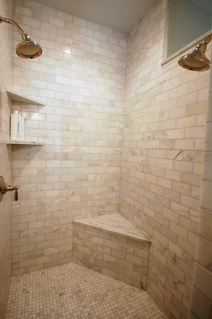 Calcutta Gold Marble Subway Tile, Transitional, bathroom, Benjamin Moore Silver Marlin, Wild Ink Press
