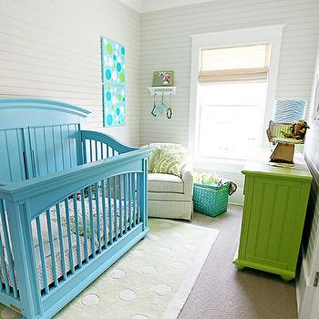 Hiya Papaya - nurseries - turquoise crib, turquoise blue crib, turquoise nursery crib, green chest, striped nursery, green rug, green nursery rug,