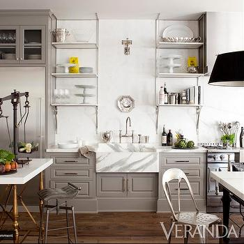 Veranda - kitchens - gray kitchen cabinets, gray kitchens, gray cabinets, marble sink, white marble sink, marble kitchen sink, open shelving, open kitchen shelving,