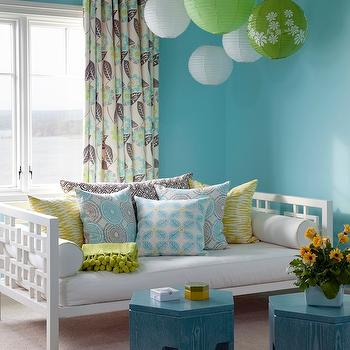 At Home in Arkansas - girl's rooms - spa blue paint color, white daybed, west elm daybed, turquoise stools, turquoise accent tables, West Elm Overlapping Squares Daybed,