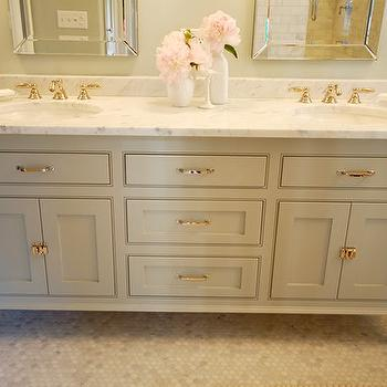 Gray Cabinets, French, bathroom, Benjamin Moore Silver Marlin, Wild Ink Press