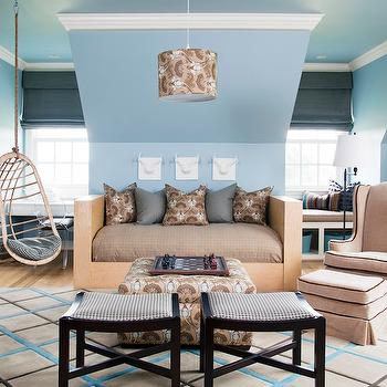 At Home in Arkansas - boy's rooms - kids daybed, boys daybed, hanging rattan chair, beige daybed, built in window seats, attic boys room, attic boys bedroom, Hanging Rattan Chair,
