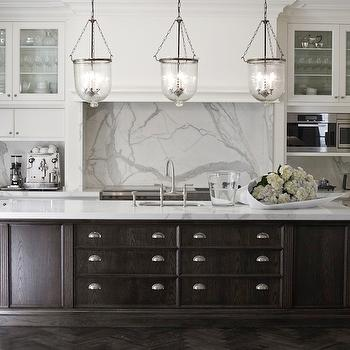 Marco Meneguzzi - kitchens - espresso kitchen island, espresso center island, hundi lanterns, two tone kitchen, statuary marble, statuary marble countertops, hidden coffee station, white cabinets,