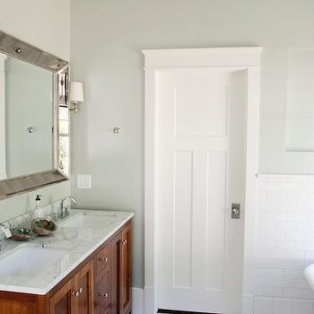 Tiek Built Homes - bathrooms - subway tiles, polished nickel sconces, venetian beaded mirror, beaded mirror, venetian mirror, stained double vanity. stained double bathroom vanity, carrera marble countertop, Restoration Hardware Venetian beaded Mirror,
