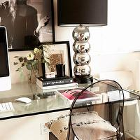 Design Sponge - dens/libraries/offices - vignette, stacked, silver, lamp, glass, desk, black, shade, Kartell Ghost Chair - Smoke Grey,  Bernadette