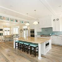 Hiya Papaya - kitchens - schoolhouse, pendants, beadboard, ceiling, blue, glass, tiles, backsplash, pot filler, farmhouse, sink, Benjamin Blackwelder, white, custom, kitchen cabinets, marble, countertops, white, kitchen island, butcher block, countertop, espresso, stained, counter stools, blue, vinyl, cushion,