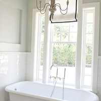 Tiek Built Homes - bathrooms - vintage, clawfoot, tub, white, roman shade, black, velvet, ribbon, trim, green, gray, walls, mosaic, marble, tiles, floor, gray, chandelier, subway tiles, backsplash, roman shades, black and white roman shades, white and black roman shades,