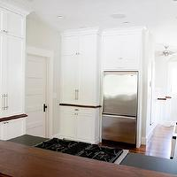 Tiek Built Homes - bathrooms - Benjamin Blackwelder, white, kitchen cabinets, honed, black, granite, countertops, butcher block, countertops, farmhouse, sink, paneled, door,