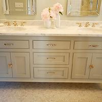 Wild Ink Press - bathrooms - honed, marble, hexagon, tiles, floor, custom, double bathroom vanity, painted, benjamin Moore, Fieldstone, marble, countertop, gray, green, walls, beveled, glass, mirrors, gray bathroom, gray bathroom cabinets, gray bathroom vanity, Benjamin Moore Fieldstone, Allen + Roth Arch Frameless Mirror,