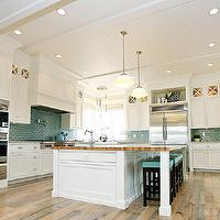 Hiya Papaya - kitchens - beadboard, ceiling, blue, glass tiles, backsplash, pot filler, Benjamin Blackwelder, white, custom, kitchen cabinets, marble, countertops, white, kitchen island, butcher block, countertop, schoolhouse pendant, double ovens, espresso, stained, counter stools, blue, vinyl, tufted, cushion, sink in kitchen island, beadboard ceiling, white beadboard ceiling, kitchen beadboard, kitchen beadboard ceiling, beadboard kitchen ceiling, beadboard ceiling kitchen, white beadboard kitchen,