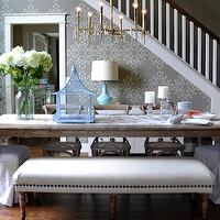 Isabella and Max Rooms - dining rooms: dining bench, studded dining bench, nailhead dining bench, madeleine side chairs, french cafe dining chairs, stenciled walls, gray stenciled walls, turquoise lamp, turquoise blue lamp, antique brass chandelier, rectangular dining table,