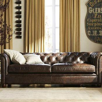 Chesterfield Leather Sofa, Pottery Barn