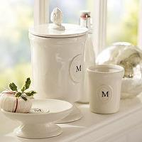 Bath - Ceramic Monogrammable Bath Accessories | Pottery Barn - veramic, monogrammed, bath, accessories