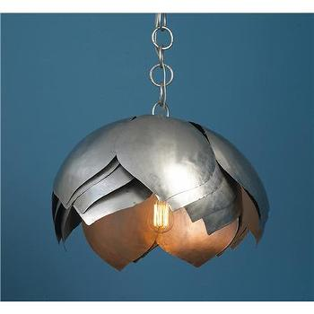 Lighting - Metal Lotus Pendant - Shades of Light - metal, lotus, pendant