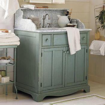 Bath - Lucca High Backsplash Single Sink Console - Blue | Pottery Barn - lucca, high, backsplash, single, sink, console