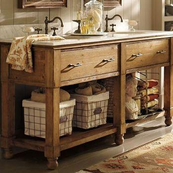 Bath - William Double Sink Console | Pottery Barn - william, double sink, console