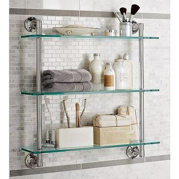 Bath - Mercer Triple Glass Shelf | Pottery Barn - mercer, triple, glass, shelf