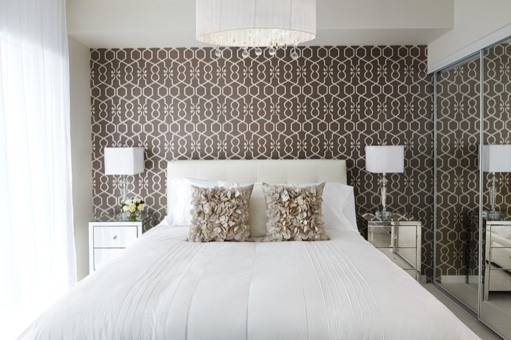 LUX Design - bedrooms - Claremont Oval Chandelier, bed, lamp, pillow, side table, headboard, Claremont Oval Chandelier,  Queensway suite master