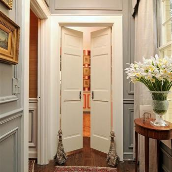 entrances/foyers - English, houndstooth, paneling, grasscloth, Greek key, Bell Jar Lantern, gilt, traditional, hall, hallway, antiques, Oushak, double doors, gray walls, gray paint colors,