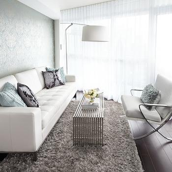 LUX Design - living rooms - metallic wallpaper, turquoise damask wallpaper, damask wallpaper, metallic damask wallpaper, metal coffee table, gray flokati rug, x chair, white x chair, white sheers, swing arm floor lamp,