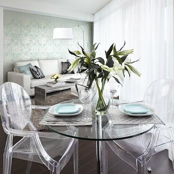 LUX Design - dining rooms - metallic wallpaper, turquoise damask wallpaper, damask wallpaper, metallic damask wallpaper, glass top dining table, glass topped dining table, ghost dining chairs,