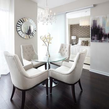 LUX Design - dining rooms: white dining chairs, white tufted dining chairs, glass top dining table, round dining table,  Queensway suite dining