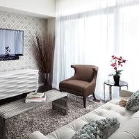 LUX Design - living rooms - media cabinet, tv, chair, coffee table, sofa, side table, wallpaper, sheers,  Queensway suite living room