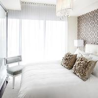 LUX Design - bedrooms - wallpaper accent wall, trellis wallpaper, brown trellis wallpaper, bedroom wallpaper accent wall, wallpaper accent wall in bedroom, oval chandelier, white strings chandelier, oval white strings chandelier, Claremont Oval Chandelier,