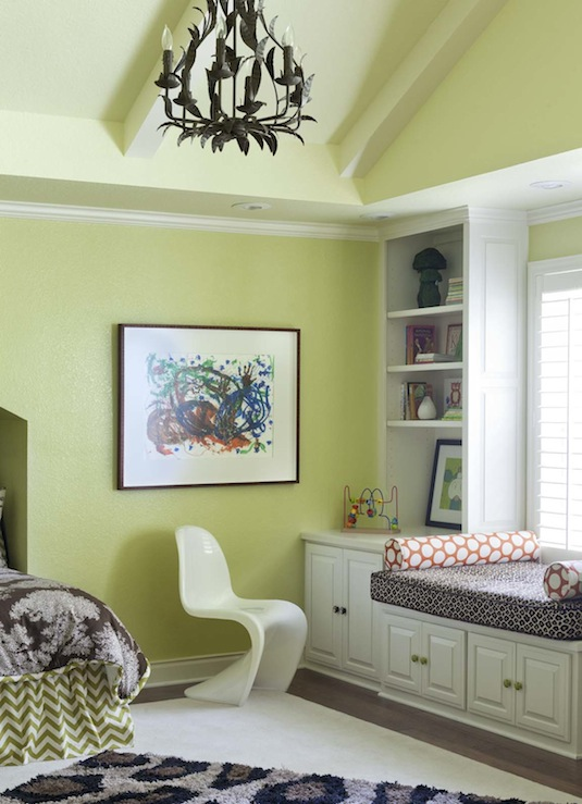At Home in Arkansas - girl's rooms - Benjamin Moore - Pale Avocado - 6-Arm Grande Claire Chandelier - Bronze, Panton Chair - White, green, walls, white, built-ins, cabinets, built-in, window seat, white, orange, bolster, pillows, white, green, zigzag, chevron, bedskirt, chocolate brown, bedding, green, headboard,
