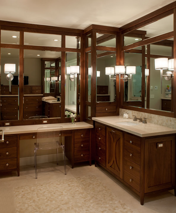 Coffee Stained Cabinets Contemporary Bathroom