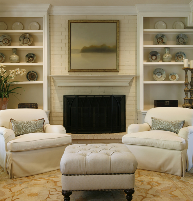 brick fireplace traditional living room ashley