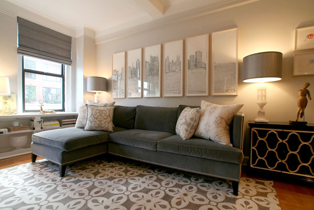 Suzie: Apartment Therapy - Chic city living room design with gray velvet sofa with chaise ...