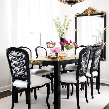 Black and White Dining Room, French, dining room, Style at Home
