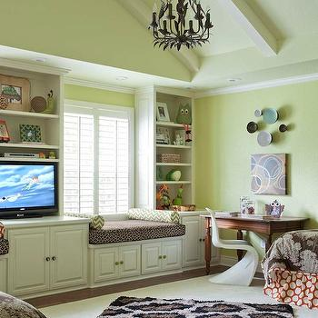 TV Built Ins, Contemporary, girl's room, Benjamin Moore Pale Avocado, At Home in Arkansas