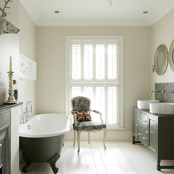 1st Option - bathrooms - clawfoot tub, calwfoot bathtub, clawfoot tub bathroom, clawfoot tub bathroom design, black clawfoot tub, black clawfoot bathtub, zebra chair, french zebra chair, black double vanity,